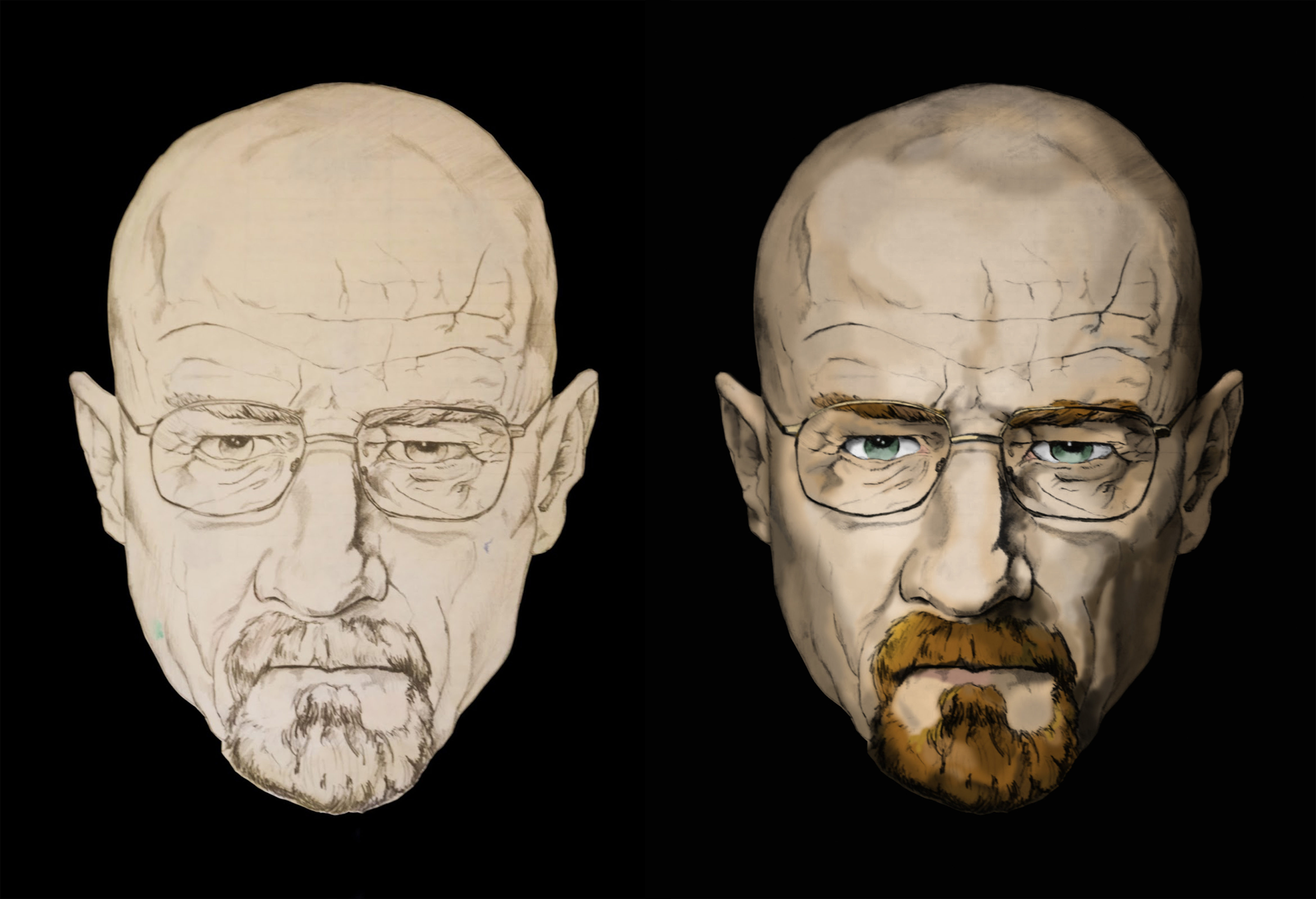 A painting of Walter White.